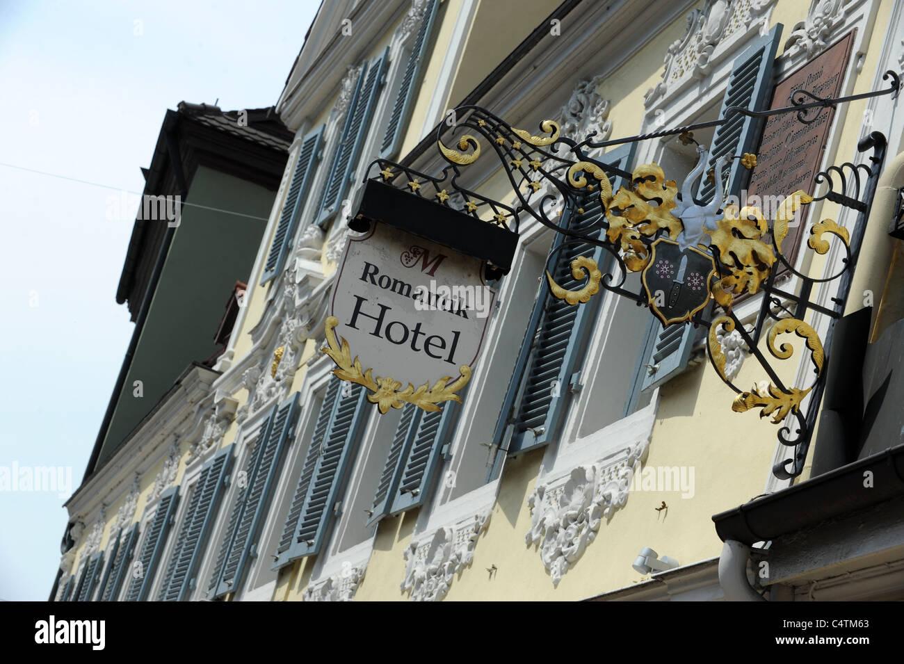 Dekorative Hotelschild in Bamberg Bayern Deutschland Deutschland Stockbild