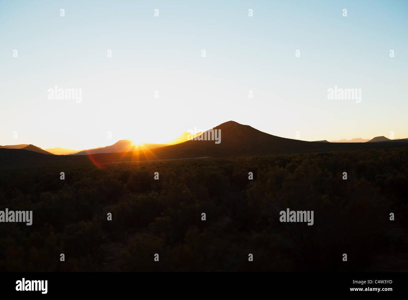 Sonne über Berge, Südafrika Stockbild