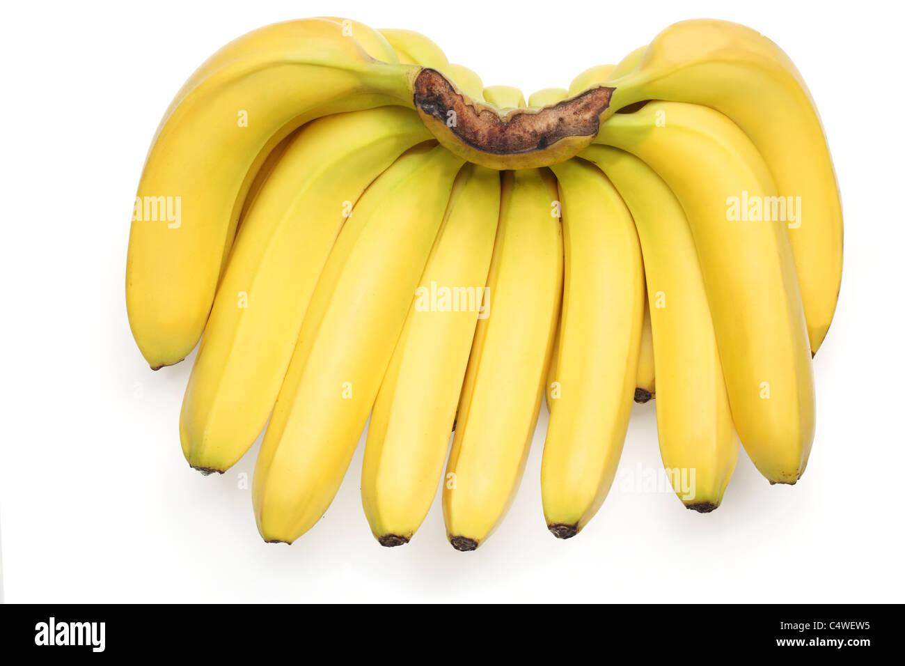Bananen, die isoliert auf weißem Hintergrund Stockbild