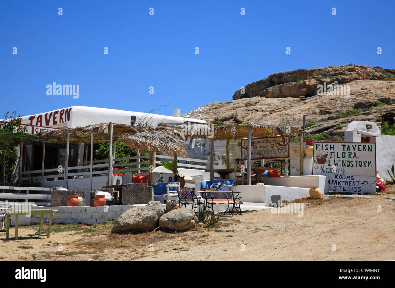 Taverna Fisch Restaurant Agia Anna Kykladen Insel Mykonos Griechenland EU Europäische Union Europa Stockfoto