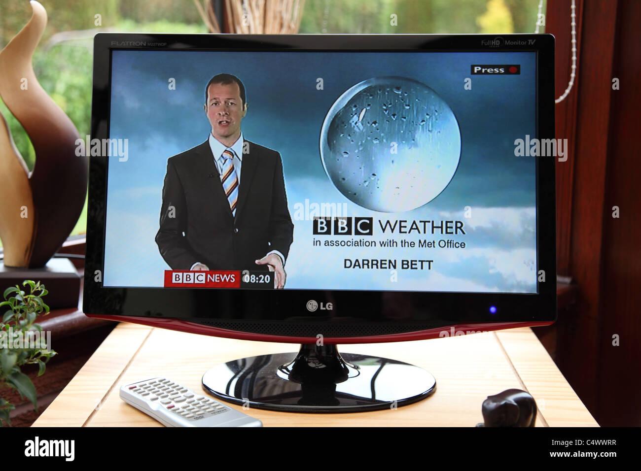 Die BBC-Wettervorhersage. Stockbild