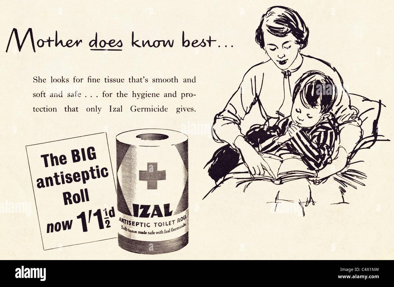 Ursprünglichen Zeit Anzeige im Magazin ca. 1953 Werbung IZAL antiseptische WC-Papierrolle Stockbild