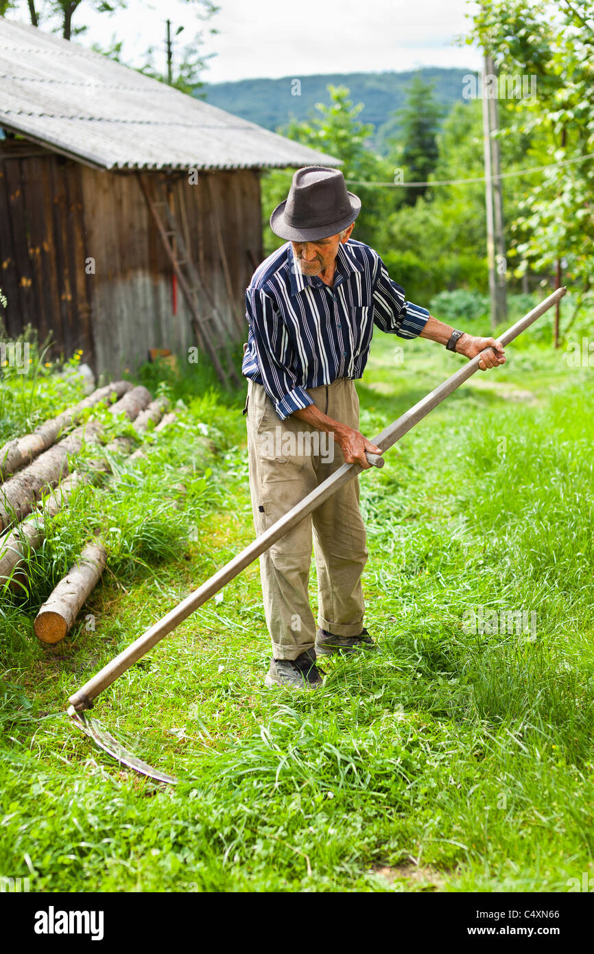 Atemberaubend Senior Bauer mit Sense traditionell das Rasenmähen Stockfoto, Bild @VC_49