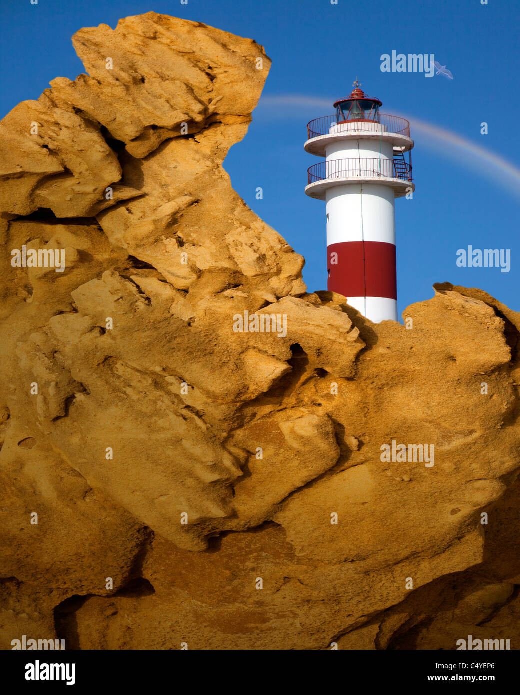 ES - Andalusien: The Lighthouse in Rota, Costa De La Luz Stockbild