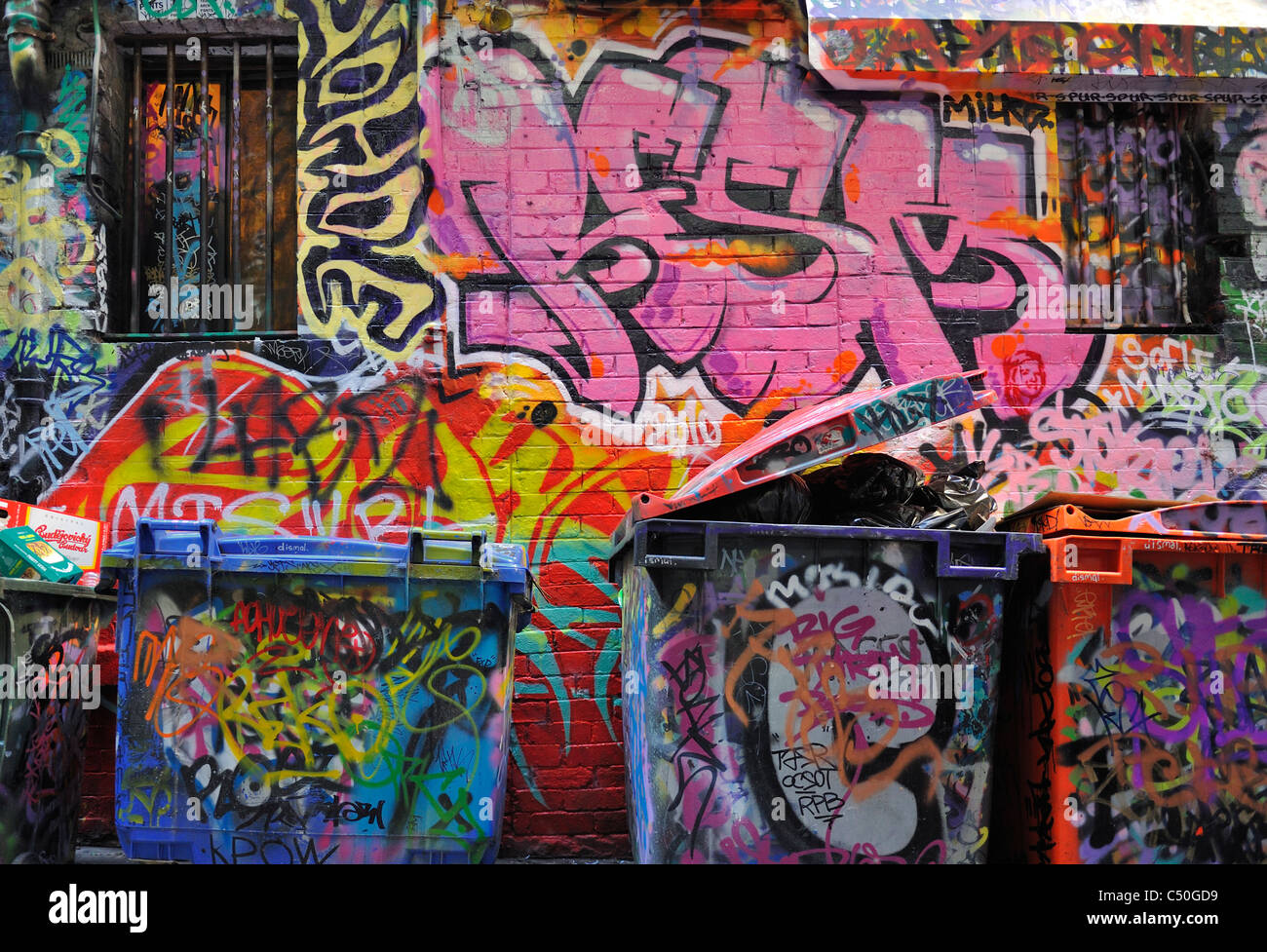 Graffiti-Kunst in Melbourne Central Business District Stockbild