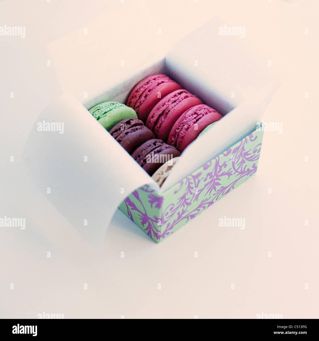 Schachtel macarons Stockbild