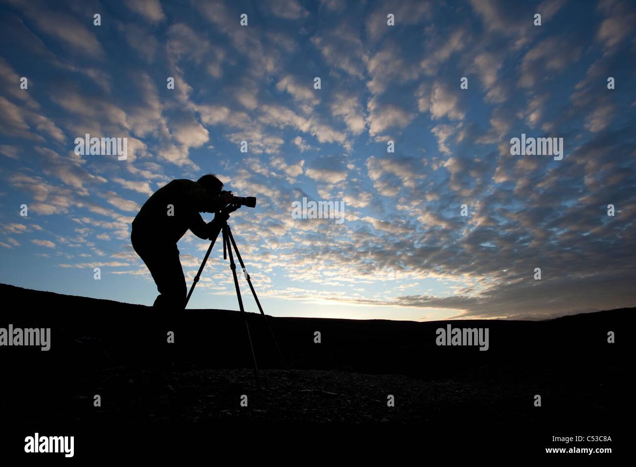 Fotograf, Silhouette, wie er auf Blueberry Hill in der Nähe von Wonder Lake, Denali Nationalpark und Reservat, Stockbild