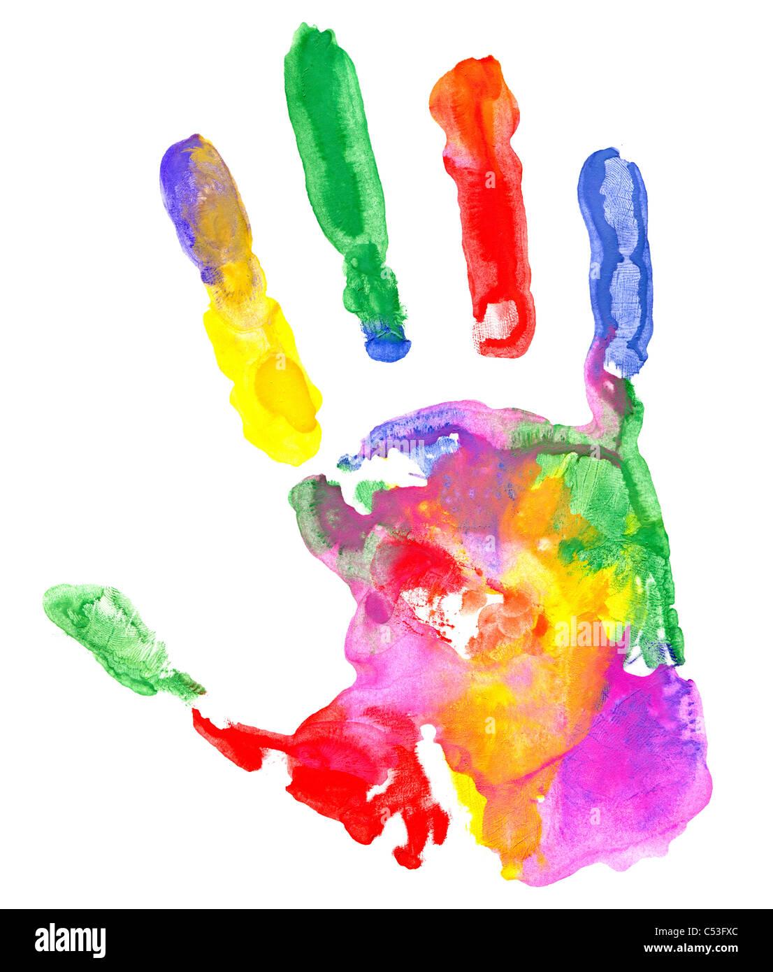 Nahaufnahme von farbigen Handabdruck auf weißem Hintergrund. Stockbild