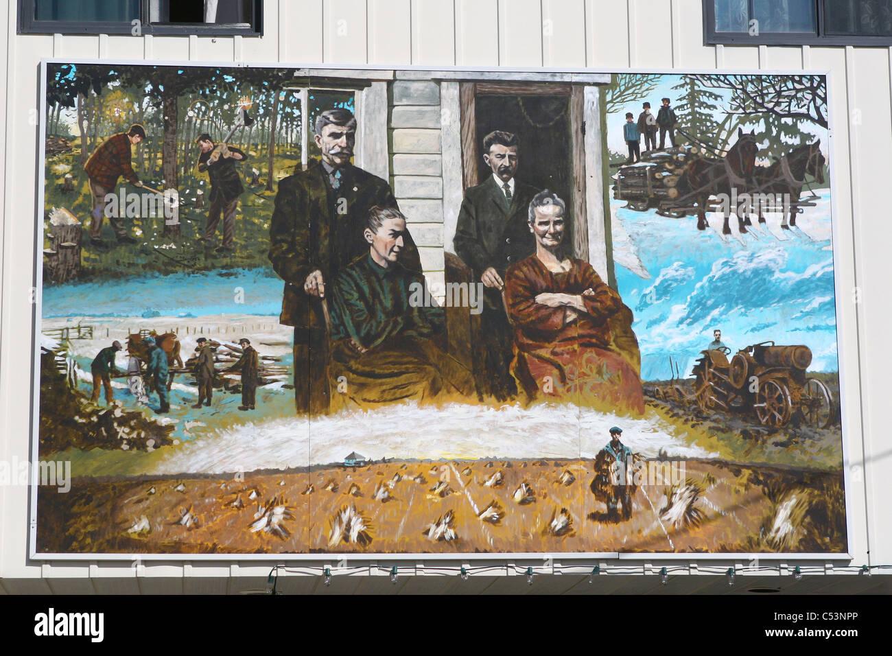 Wandbilder bei rechts-, Alberta, Kanada Kunst Malerei Wand Dekorationen künstlerisch kreative phantasievolle arty Stockfoto