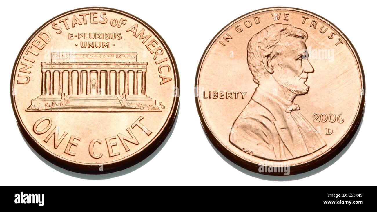 Ein Usa 1 Cent Münze Stockfoto Bild 37580377 Alamy