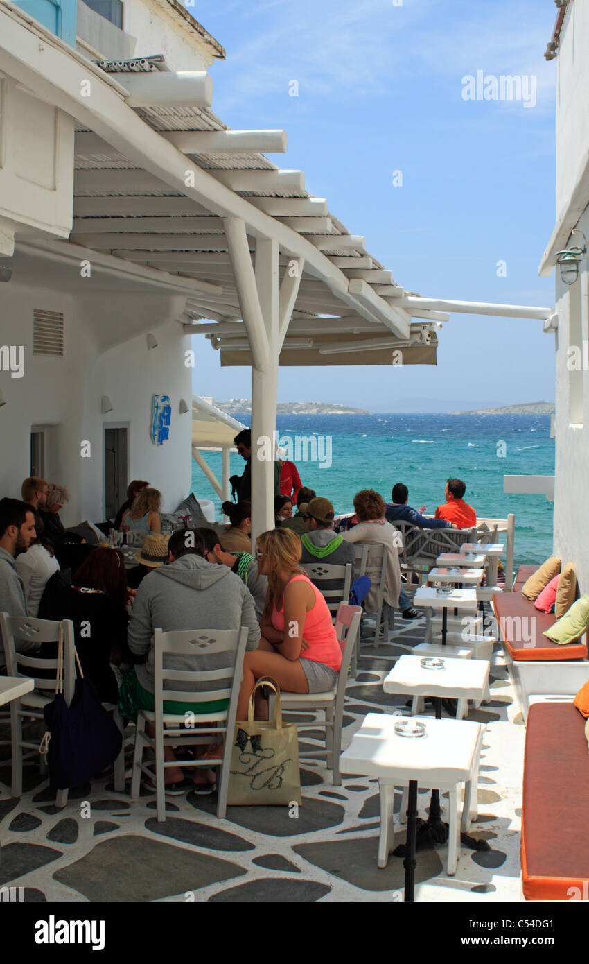 Klein-Venedig-Bereich der Insel Mykonos Kykladen Ägäis Griechenland EU europäisches Europa Stockfoto