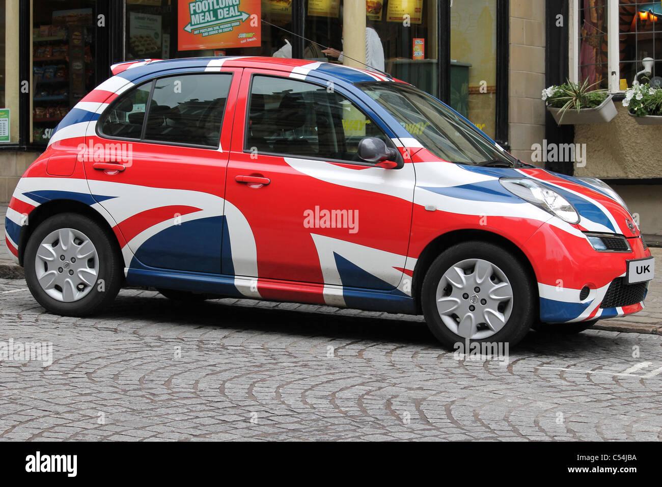 Auto Mit Haken Design Der Britischen Union Jack Flagge Stockfoto