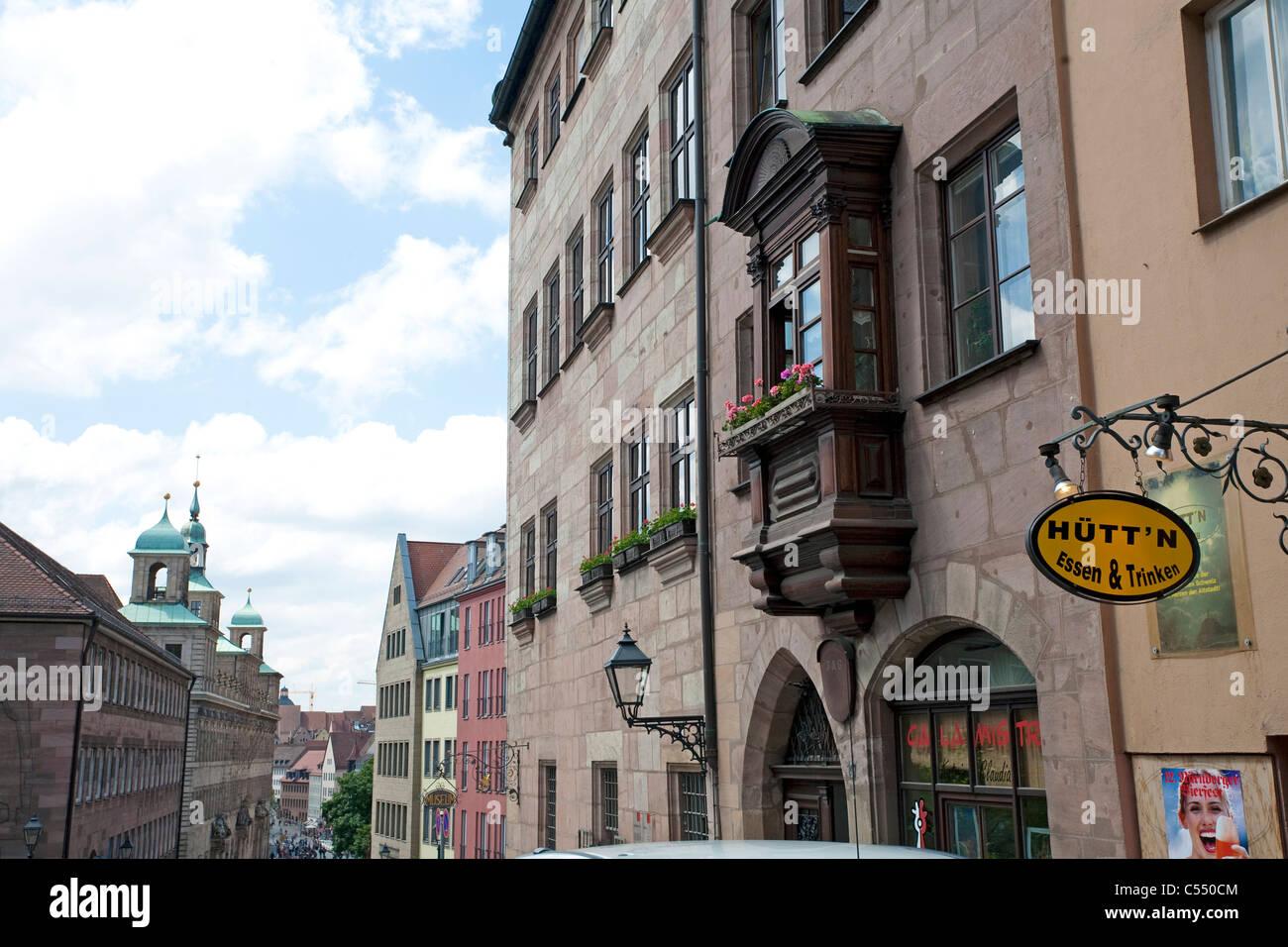 Burgstraße in der Altstadt-Schloss-Straße der Nürnberger Altstadt Stockbild