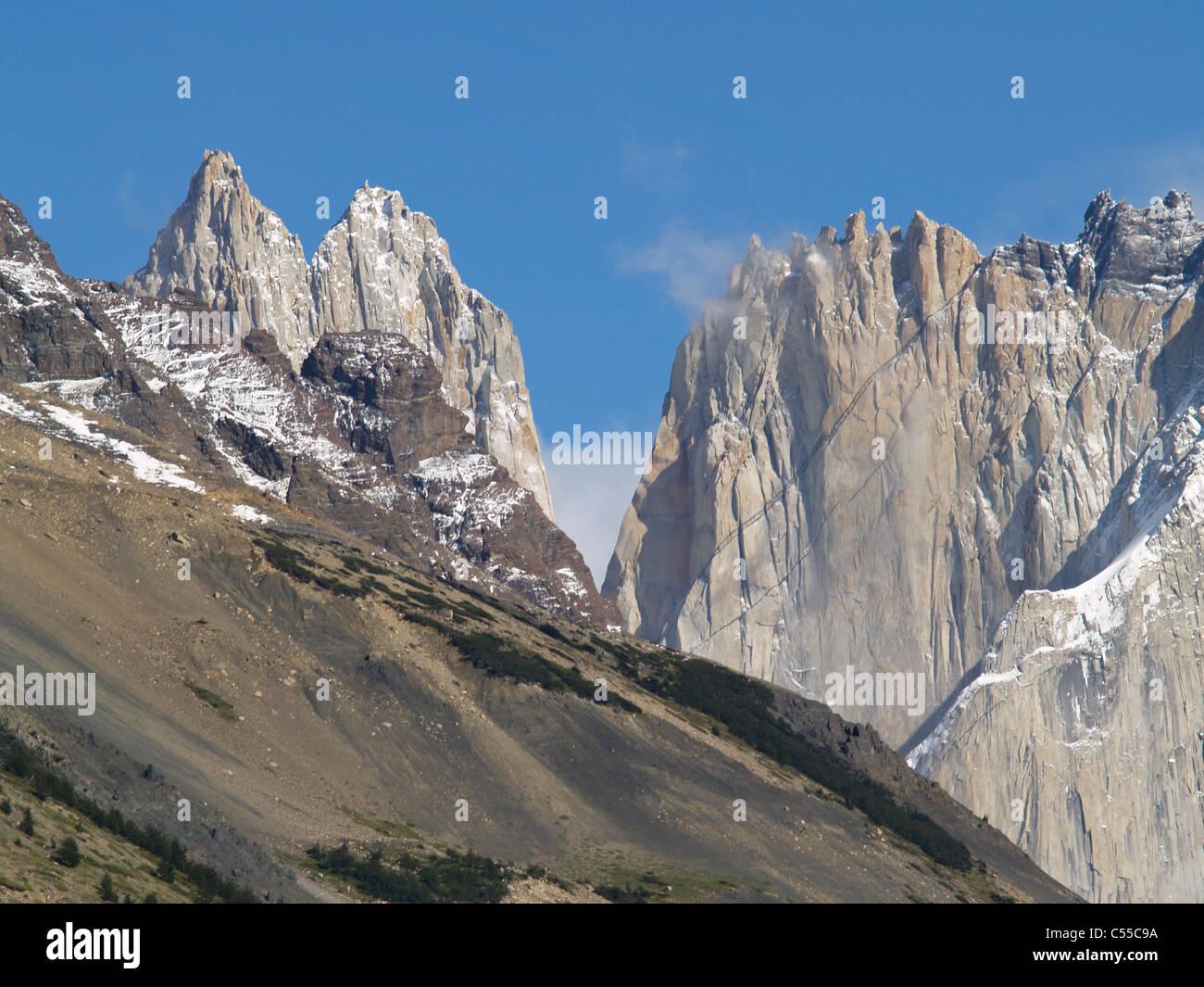 Die Torres del Paine des Parque Nacional Torres del Paine in Chile Stockbild
