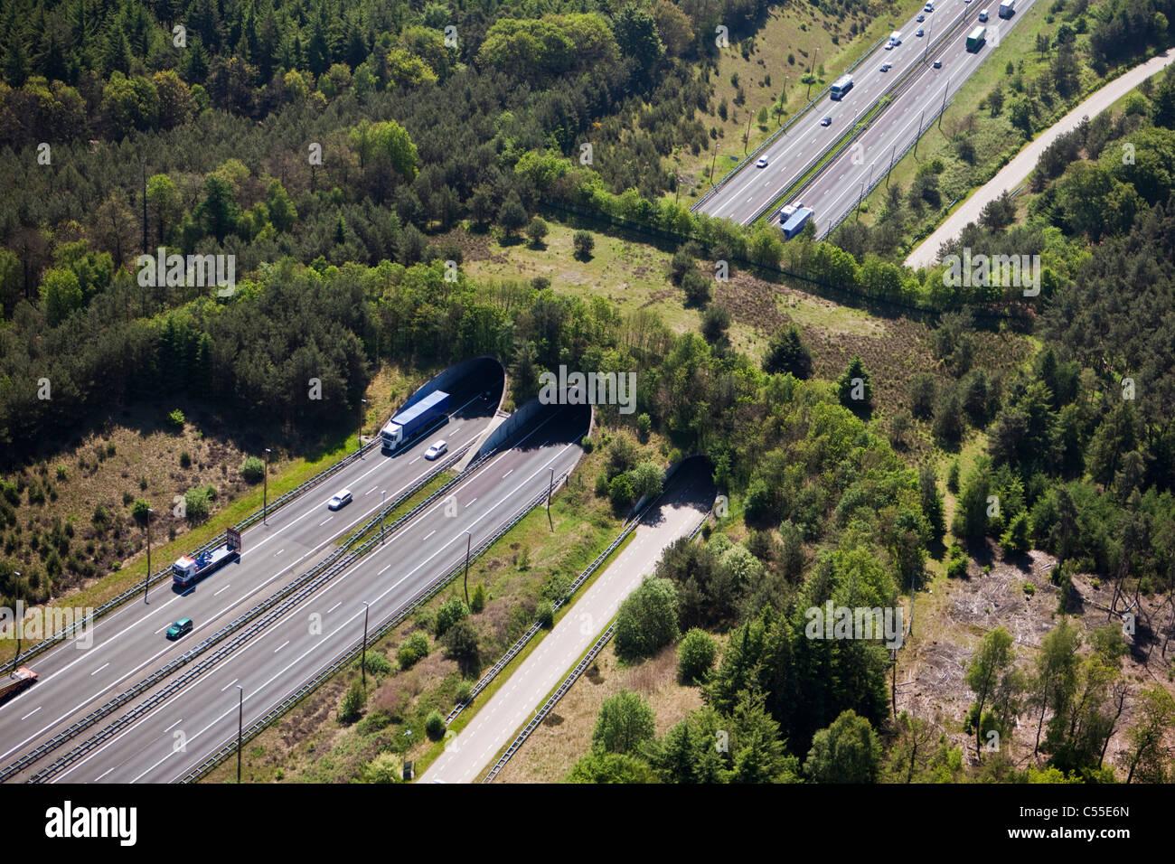 Die Niederlande, Noordwijk, Autobahn oder Landstraße und eco Crossover für Fauna. Ecoduct. Antenne. Stockbild