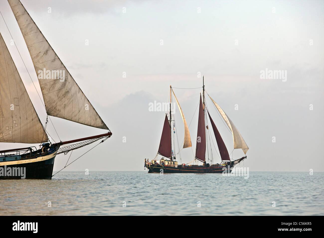 Die Niederlande, Enkhuizen. Jährliche Rennen der traditionelle Segelschiffe namens Klipperrace. Stockbild