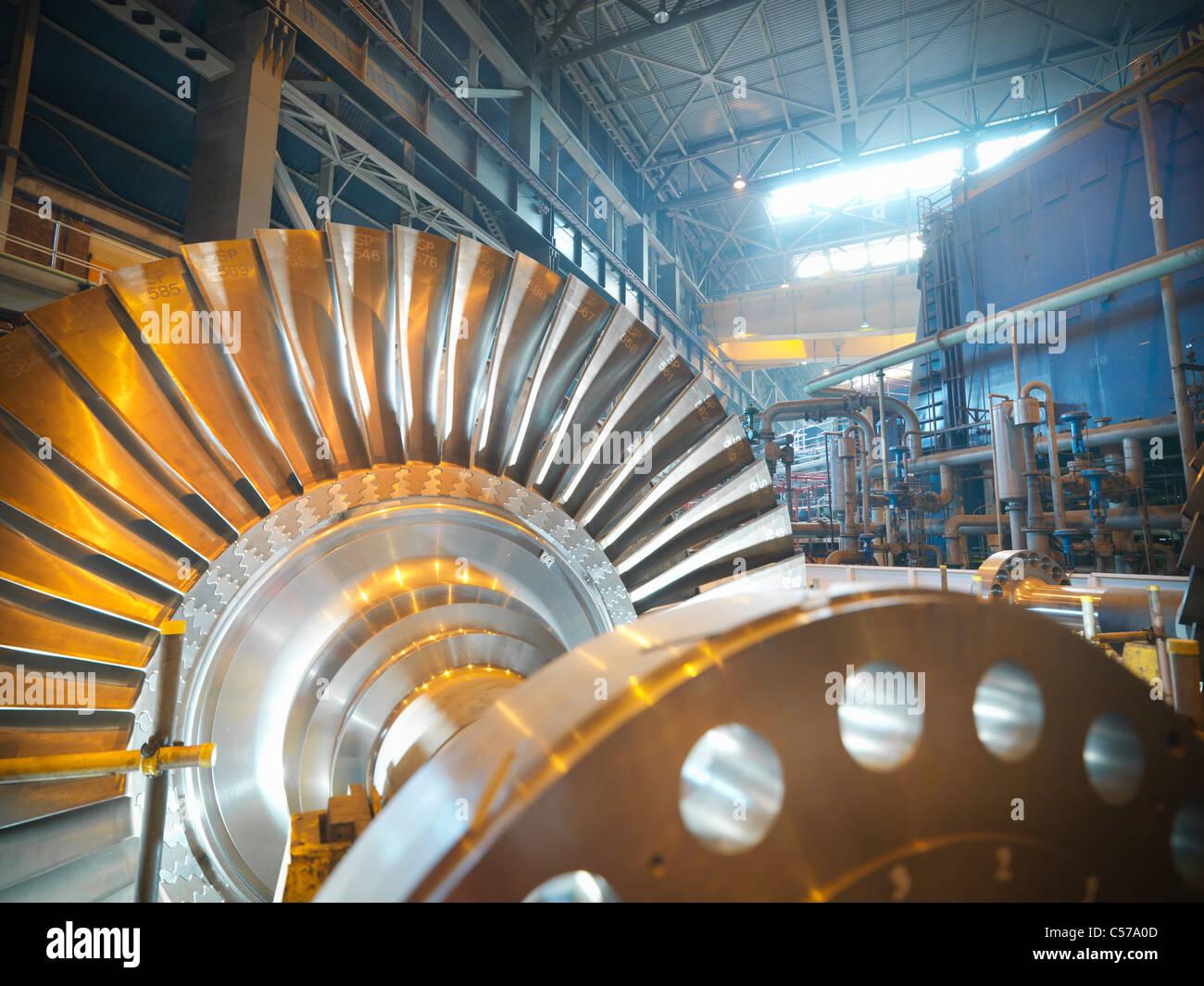 Turbine im Kraftwerk Stockbild