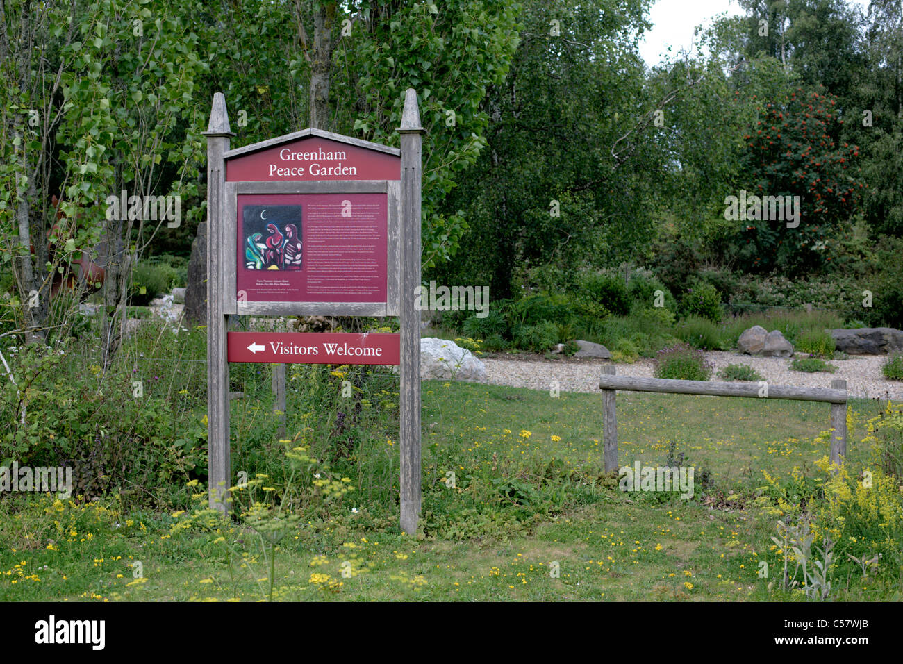 Greenham Frieden Garten Newbury Berkshire England UK Website des ehemaligen Frieden Frauenlager Stockbild