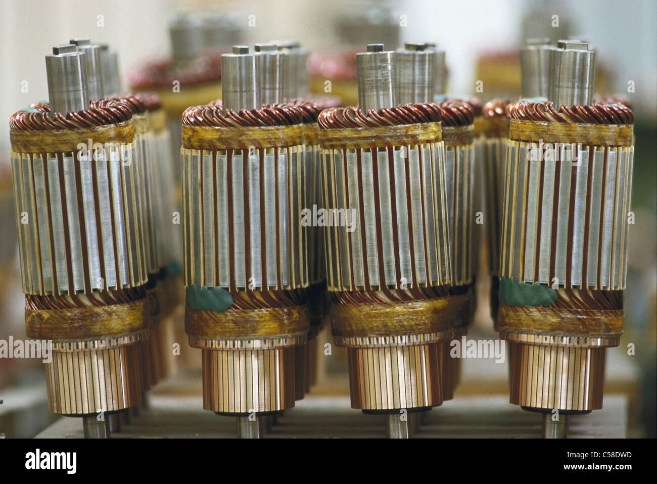 Montage, Montage, Kupfer, Wirtschaft, Elektronik, Elektrotechnik, Elektromotor, Elektromotor, Motor, Technik, eu Stockbild