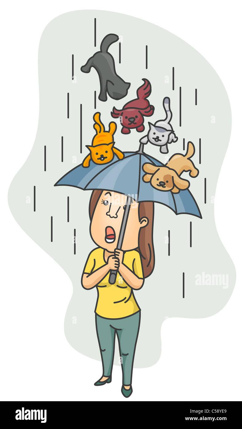 Eine Frau mit ihrem Schirm wie ein Schild von einem Hagel von Katzen und Hunden Stockfotografie - Alamy