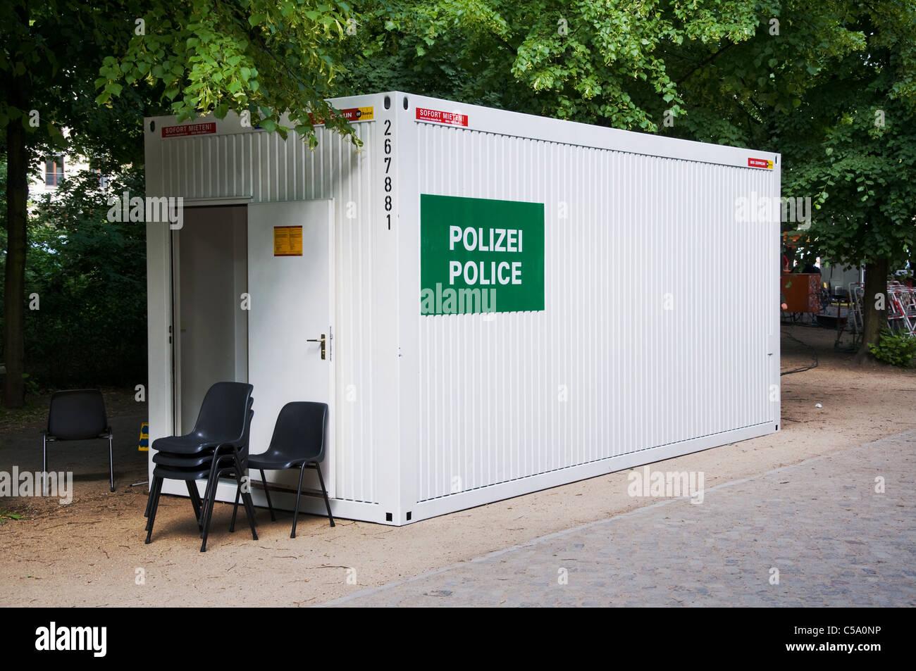 Temporare Polizei Burocontainer Box Bei Einschneidenden Ereignis Und