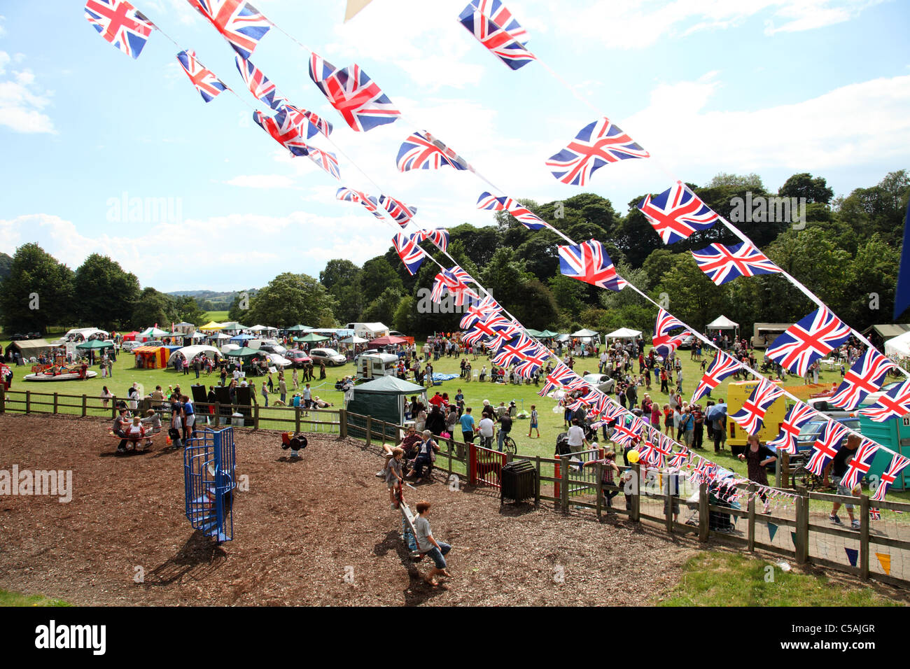 Ein Dorffest in Derbyshire, England, Vereinigtes Königreich Stockbild