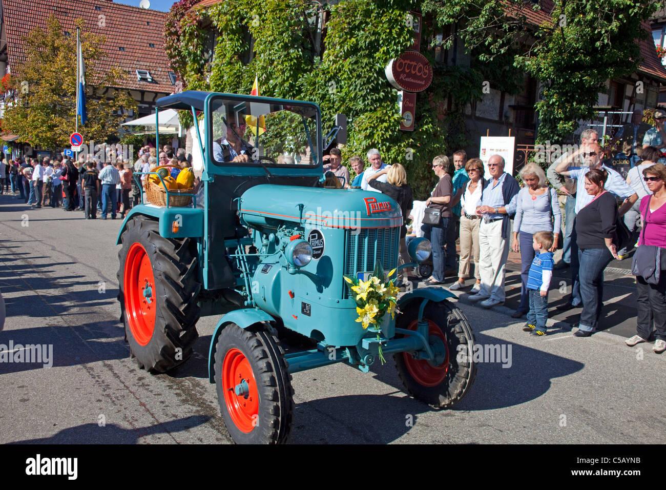Primus Oldtimer Traktor, Festumzug Erntedankfest, Weinfest, Traktor Oldtimer Erntedankfest Thanksgiving Tag Schwarzwald Stockbild