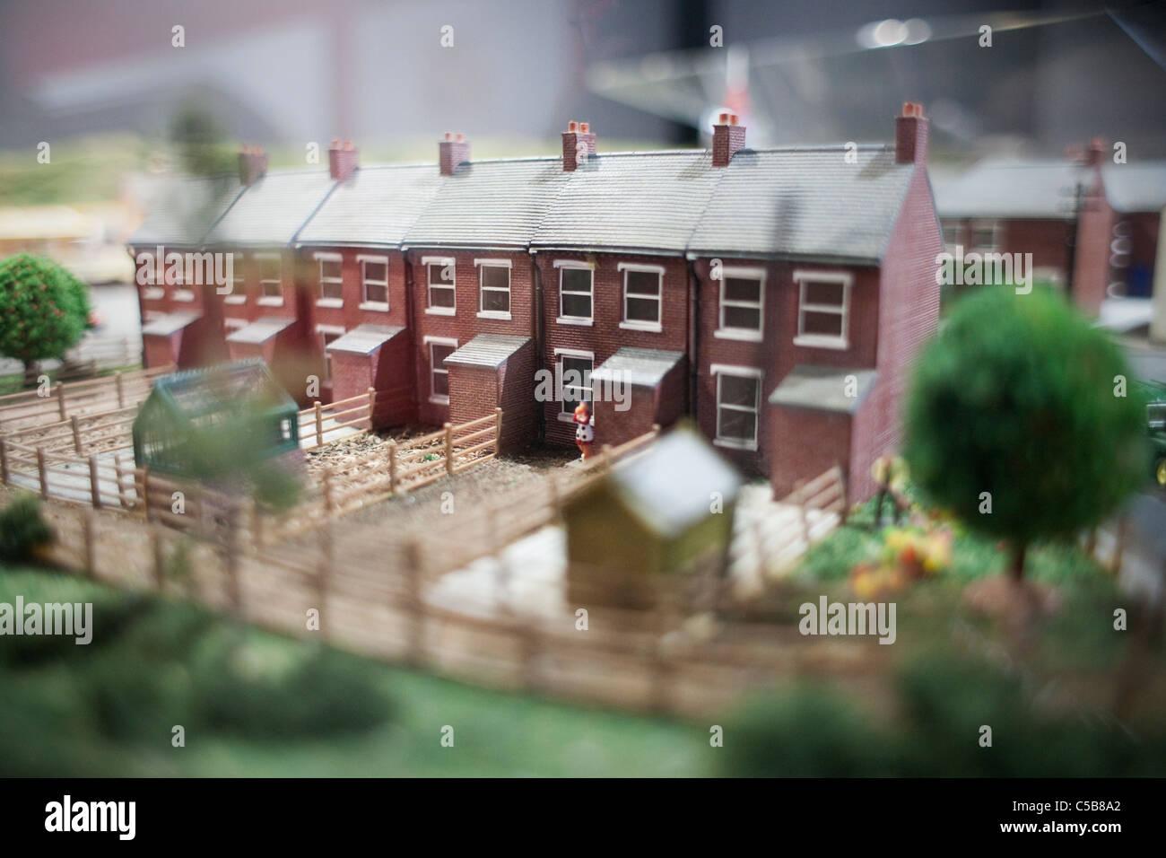 Häuserzeile Modell Stockbild