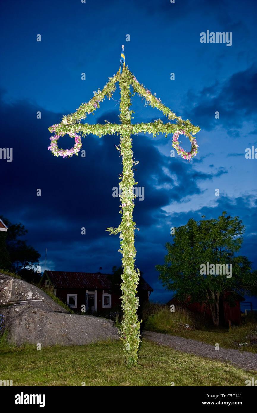 Blätterte Maibaum gegen blauen Wolkenhimmel in der Nacht Stockbild