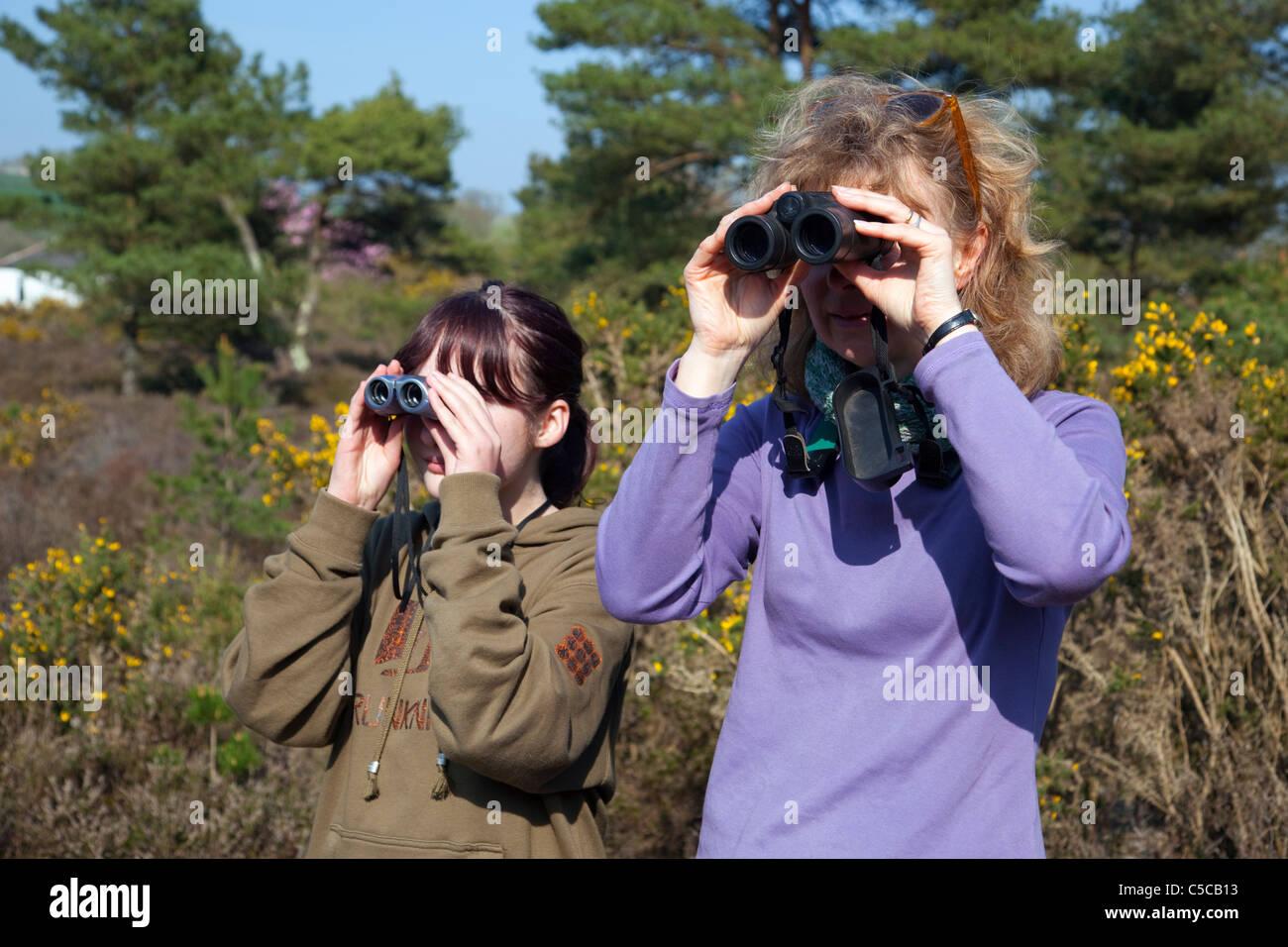 Frau und Mädchen Vogelbeobachtung; Cornwall Stockbild