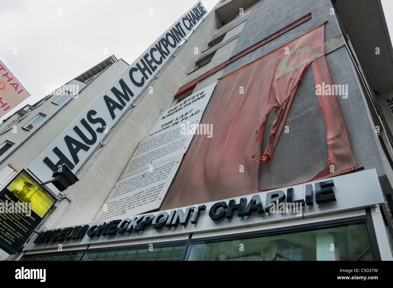 Letzte sowjetische Flagge am Checkpoint Charlie Stockfoto