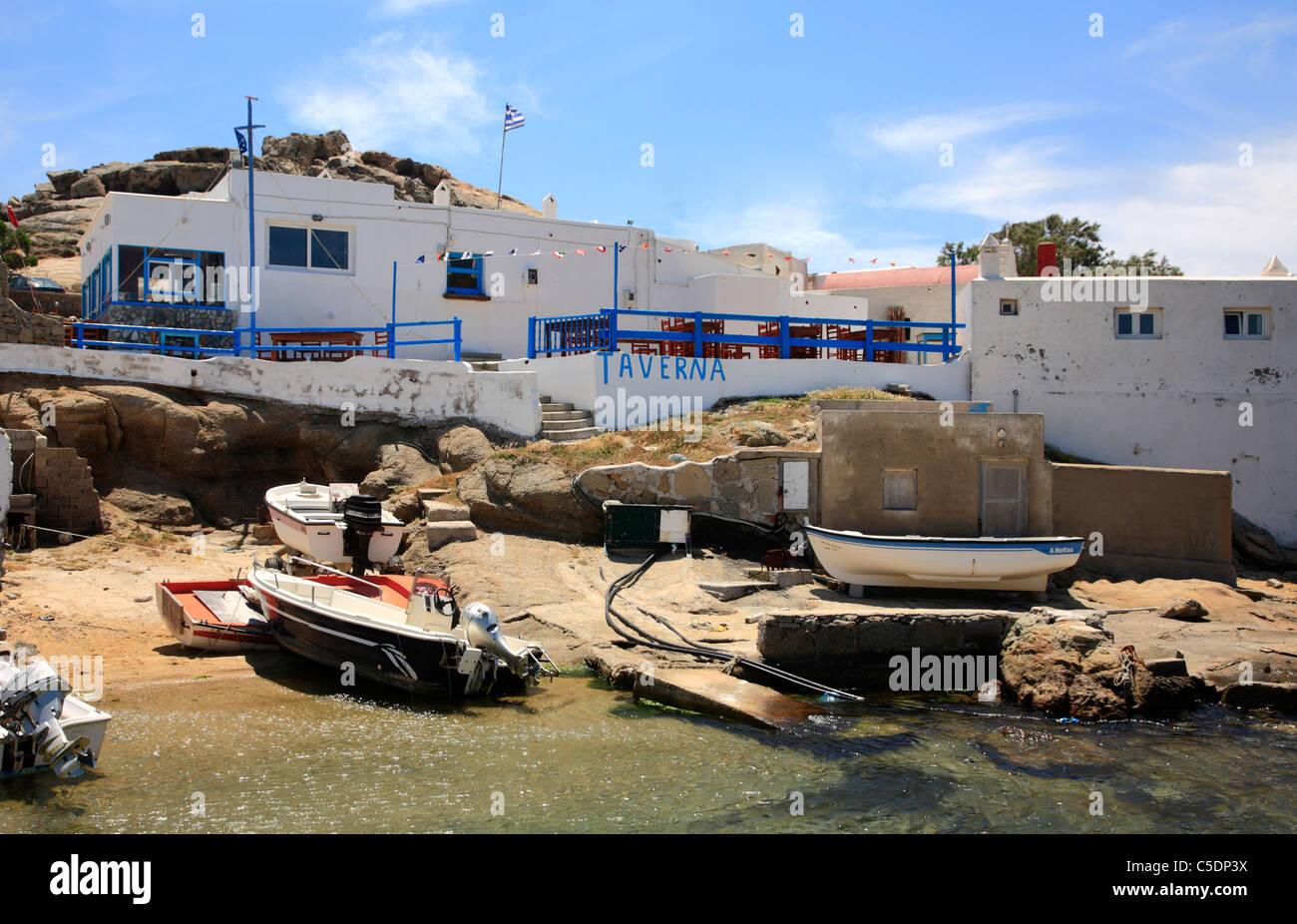 Angeln Dorf Agia Anna Kalafatis Cyclades Insel Mykonos Griechenland EU Europäische Union Europa Stockfoto