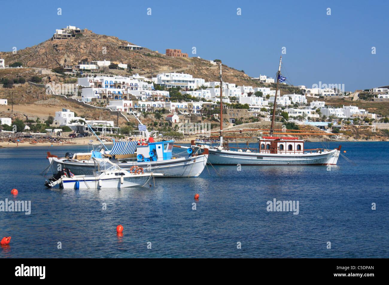 Ornos Bay griechischen Insel Mykonos Cyclades Griechenland EU Europäische Union Europa Stockfoto