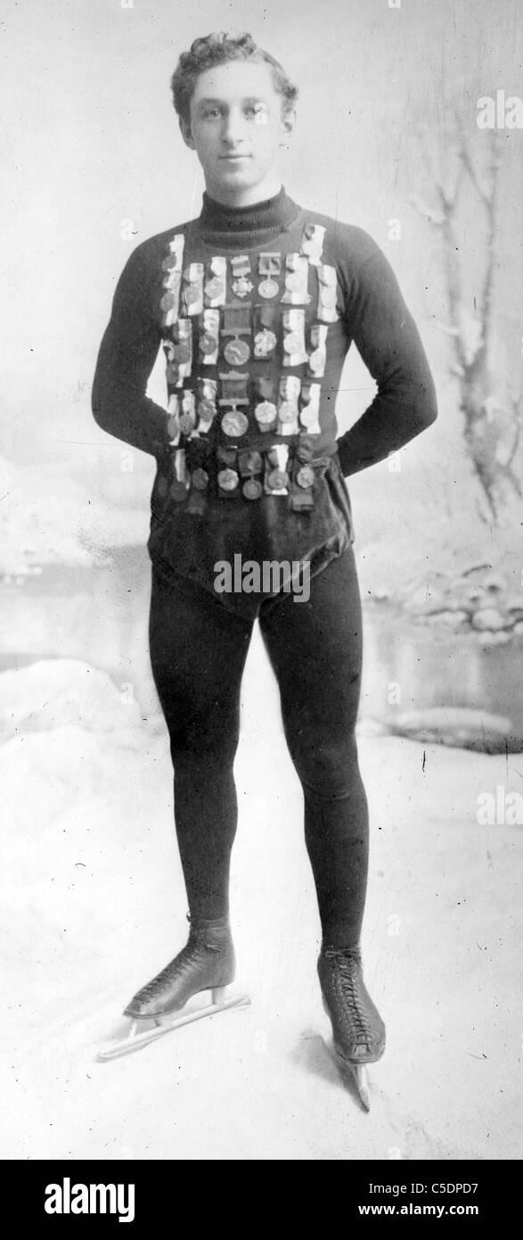E. Lamy, Champion Skater, Edmund Lamy internationalen Eisschnelllauf Champion, ca. 1908 Stockbild