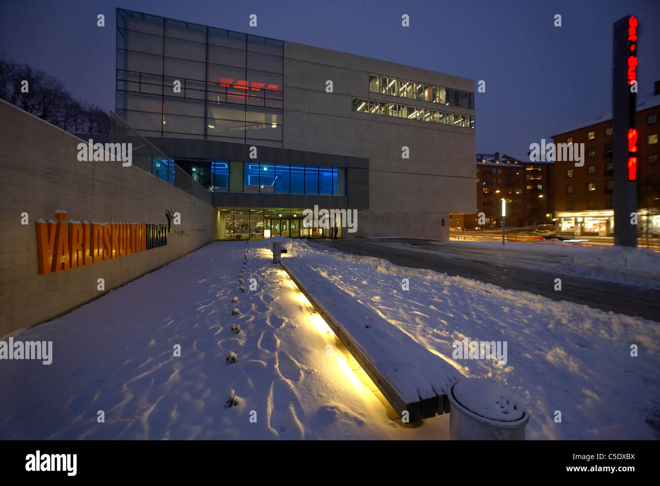 Außenaufnahme des national Museum of World Culture im Winter in Göteborg, Schweden Stockbild