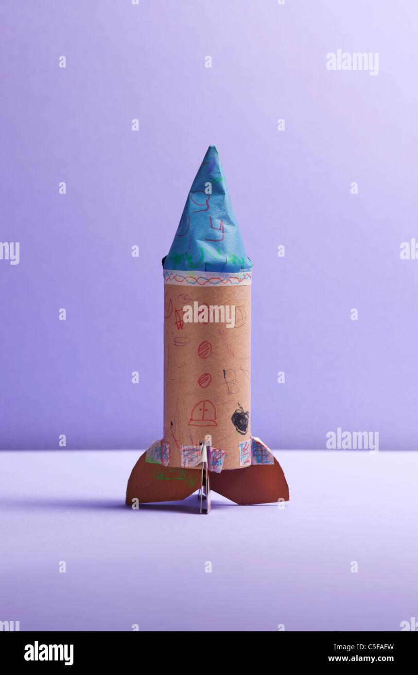 Hausgemachte Kind Rakete, Studio gedreht Stockbild