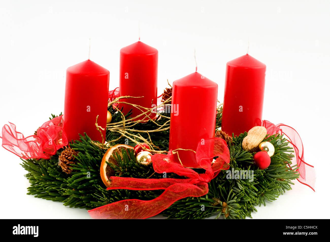 adventskranz mit roten kerzen stockfoto bild 37880890. Black Bedroom Furniture Sets. Home Design Ideas