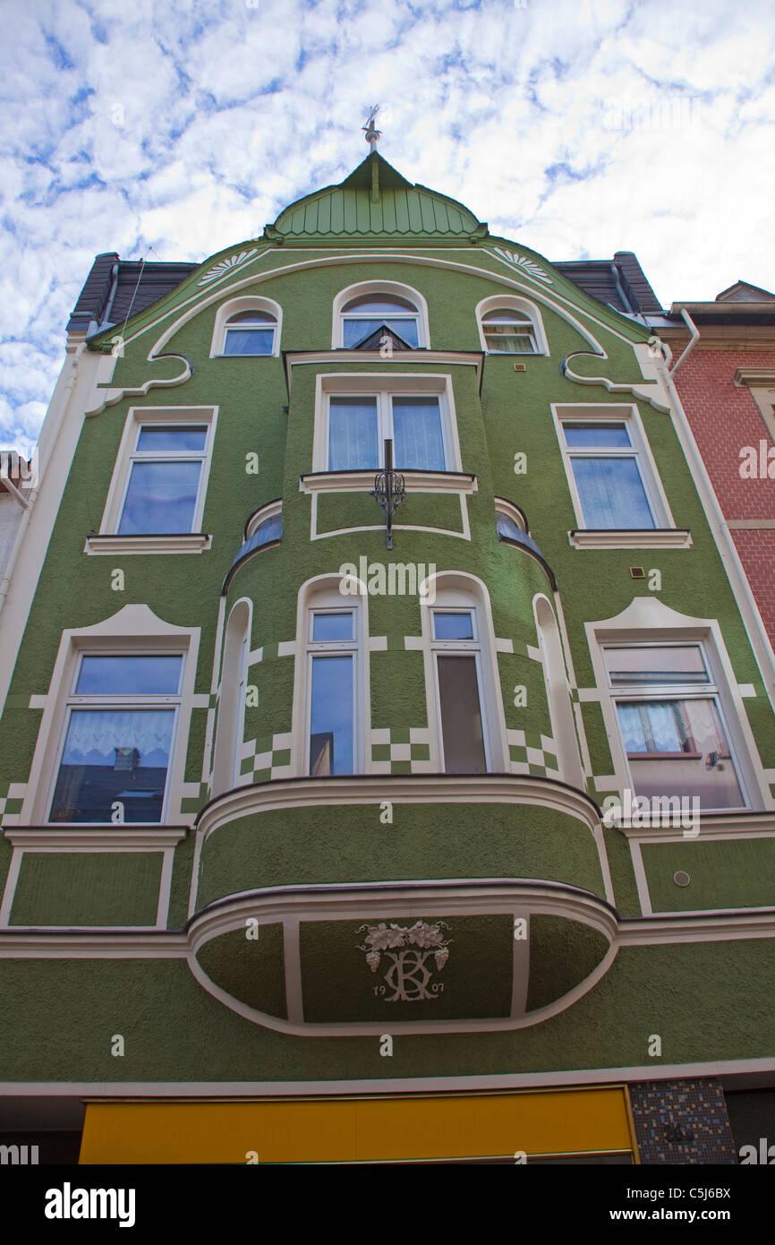 Buergerhaus Mit Erker, Traben-Trarbach, Mosel, Stadthaus mit überstehenden Alkoven, Traben-Trarbach, Mosel Stockbild