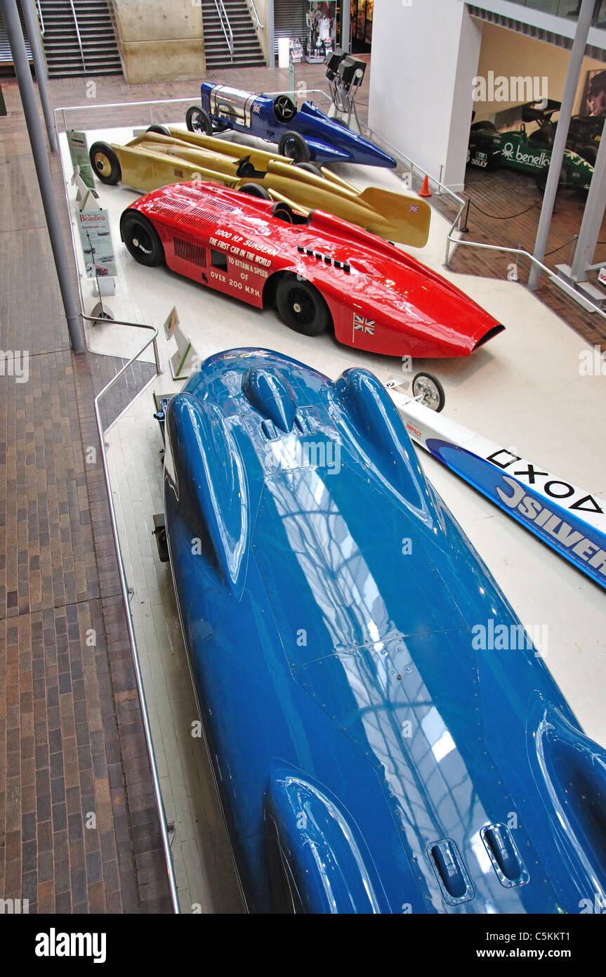Bluebird und Sunbeam Welt Land Speed Cars, The National Motor Museum, Beaulieu, New Forest, Hampshire, England, Stockbild