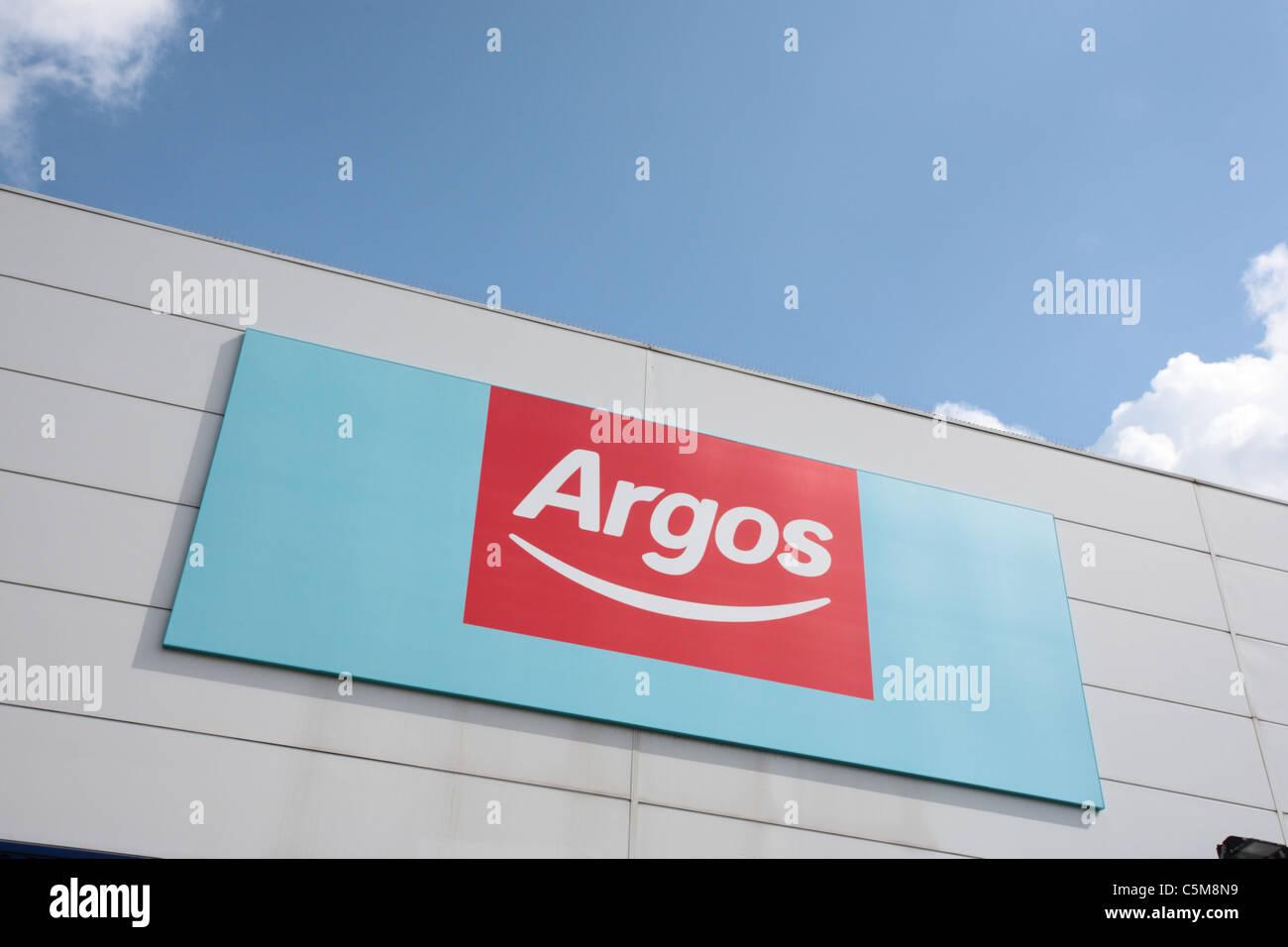 Argos-Beschilderung Stockfoto