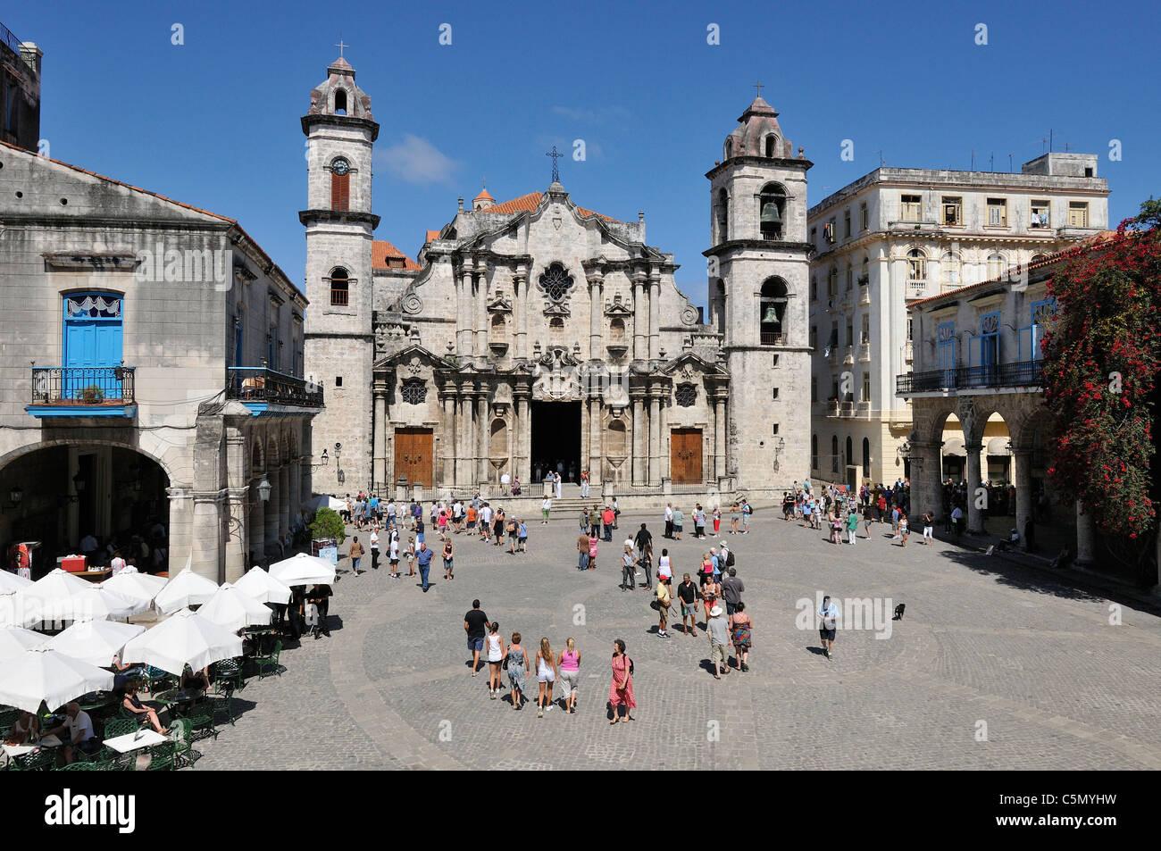 Havanna. Kuba. Habana Vieja / alte Havanna. Catedral De La Habana, Plaza De La Catedral. Stockbild
