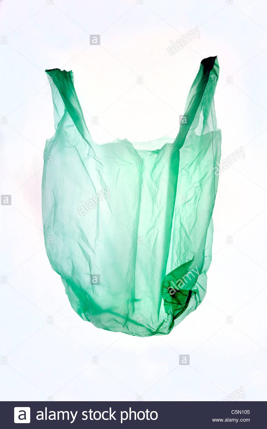 eine dünne Kunststoff-Einkaufstüte Stockbild