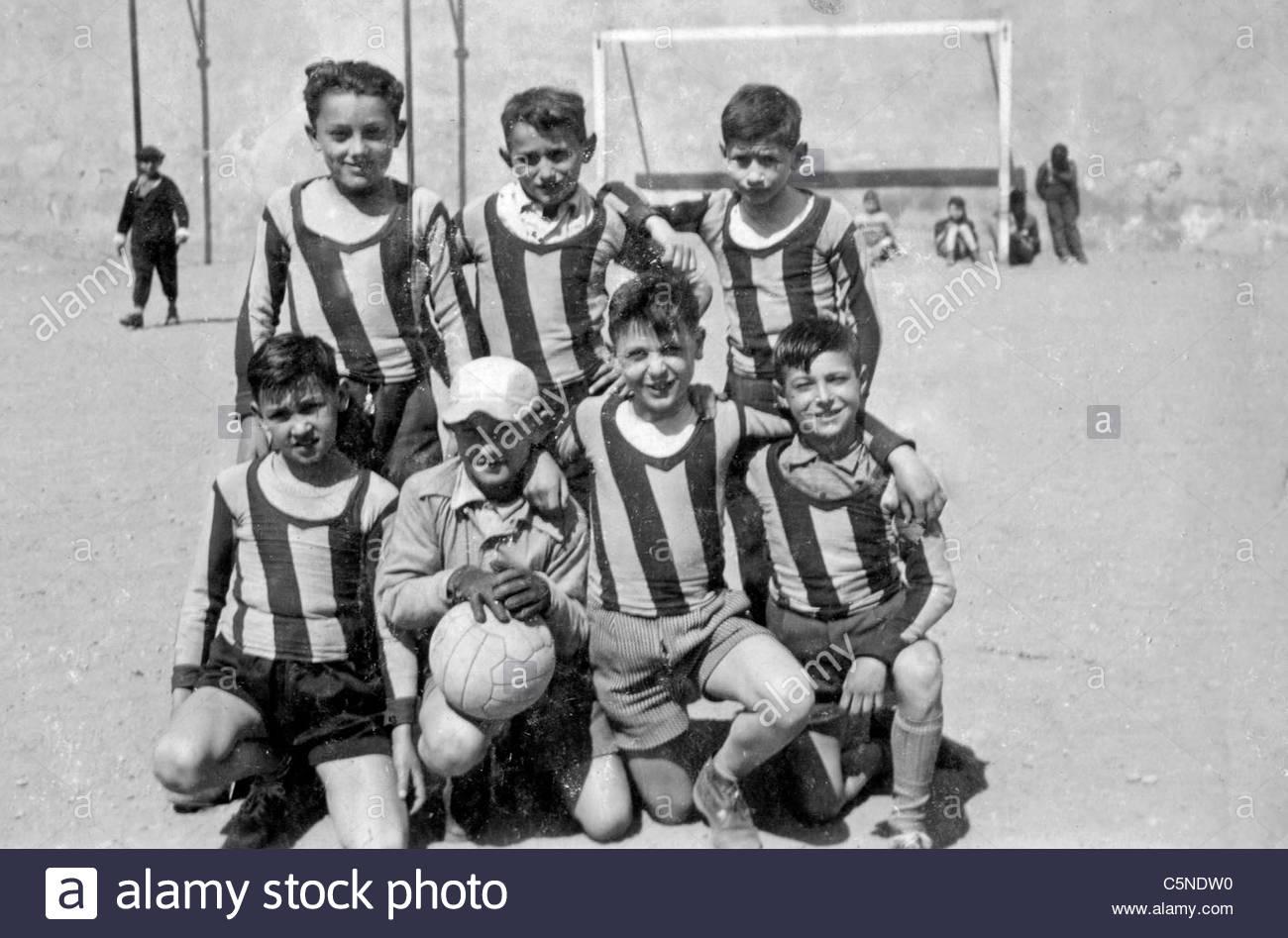 Fußball Team, Italien, 40er-50er Jahre Stockbild