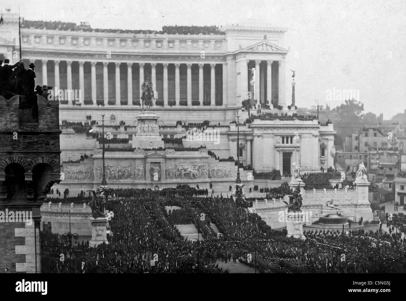 Zeremonie des unbekannten Soldaten, Rom 1921 Stockbild