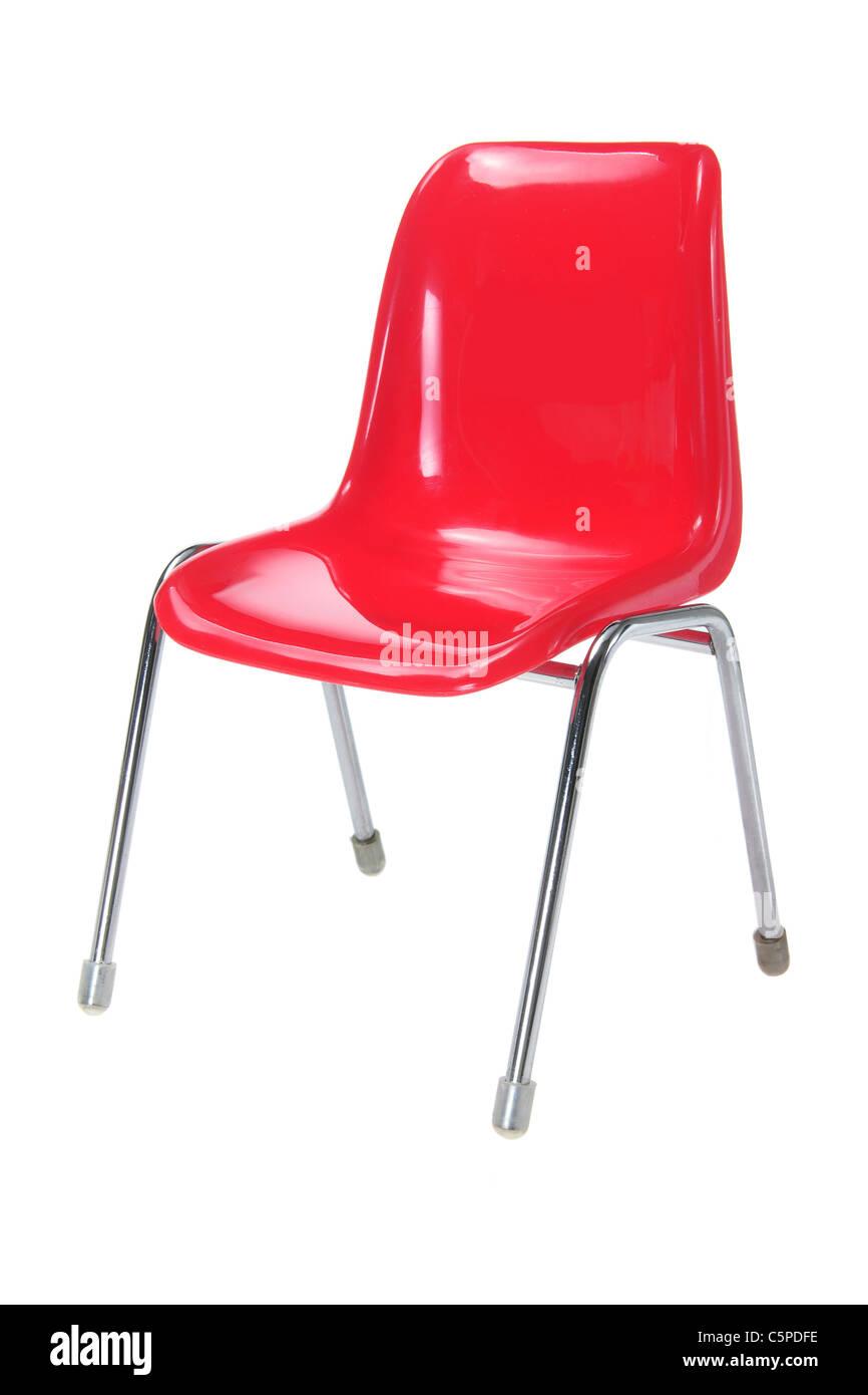Rote Miniatur-Stuhl Stockbild
