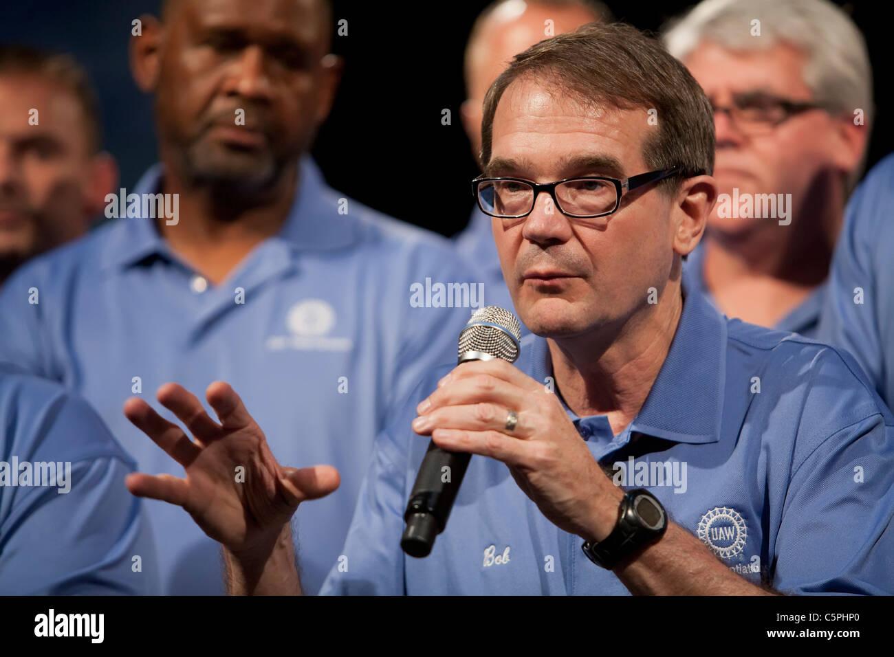 UAW-Präsident Bob King Stockbild