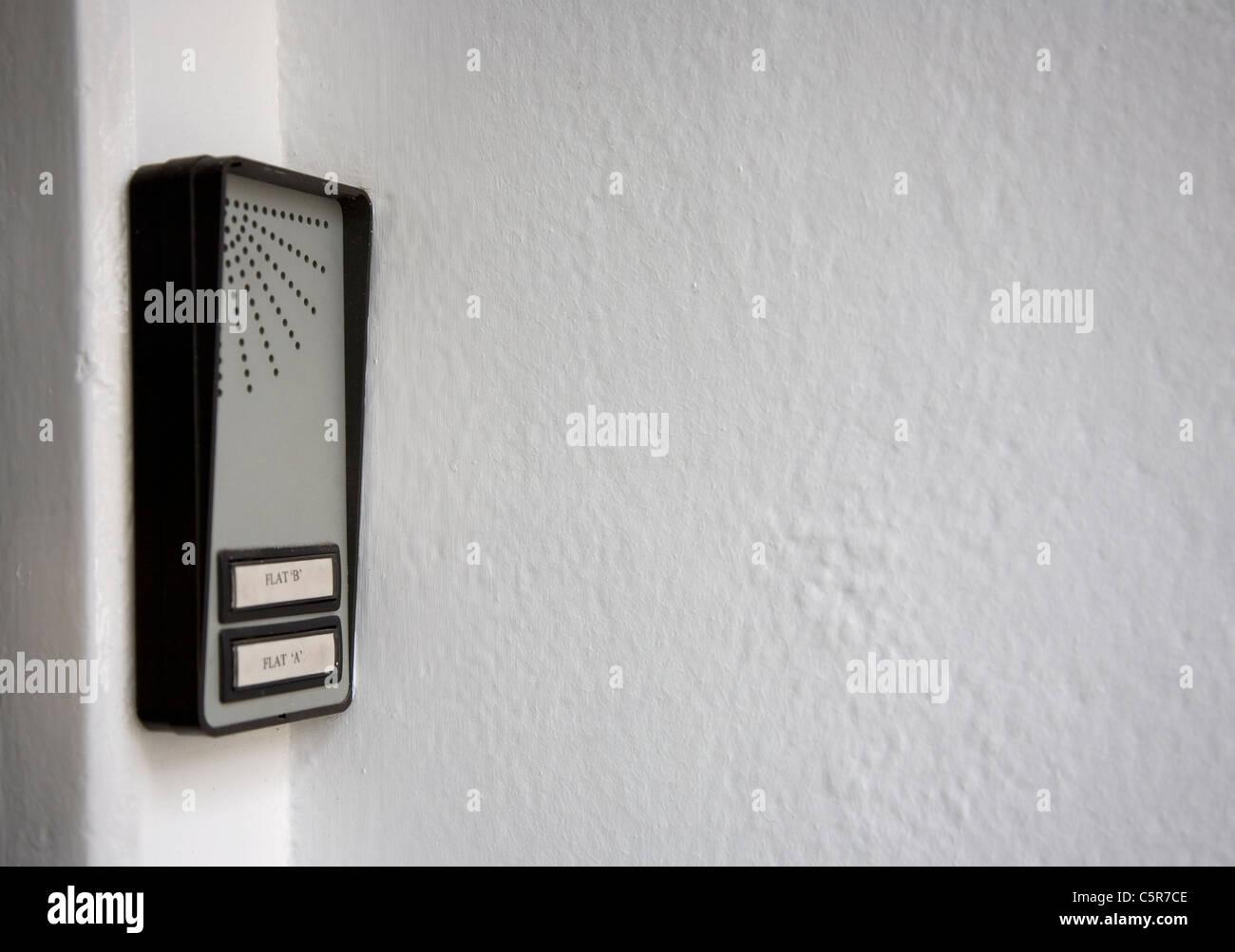 Fernsprechanlage Summer für zwei Wohnungen Stockbild