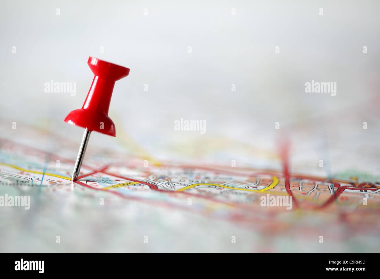 PIN auf der Karte Stockbild
