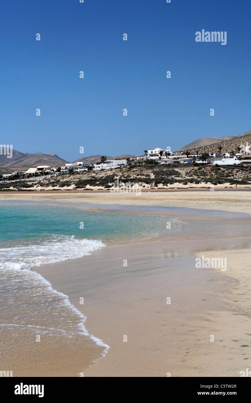 Spanien, Kanarische Inseln, Fuerteventura, Risco Del Paso, Playa de Sotavento, Jandia, Blick auf Strand Stockbild