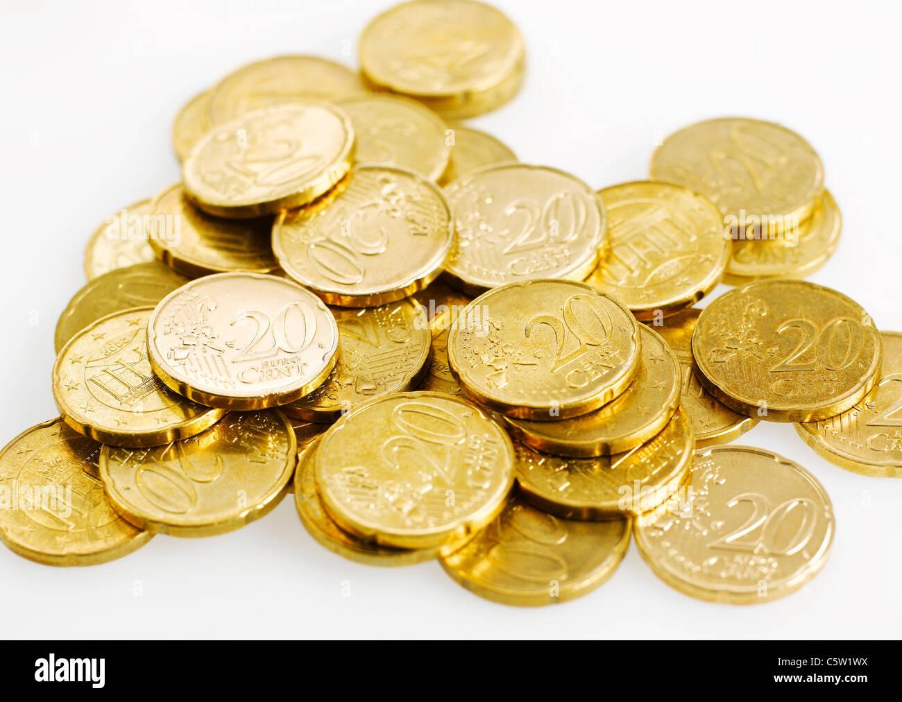 20 Euro Cent Münzen Stockfoto Bild 38044326 Alamy